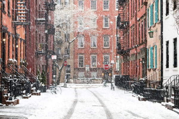 Snowy winter scene on Gay Street in the Greenwich Village neighb