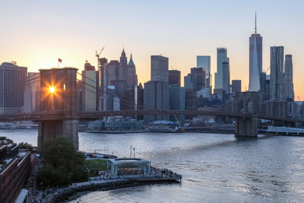 New York City - Rays of sunlight shine through the arches of the