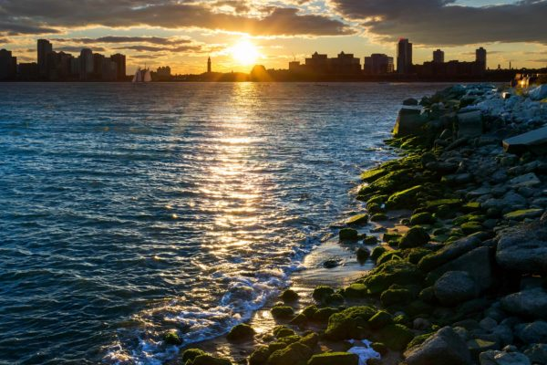Sunset across the Hudson River seen from New York City